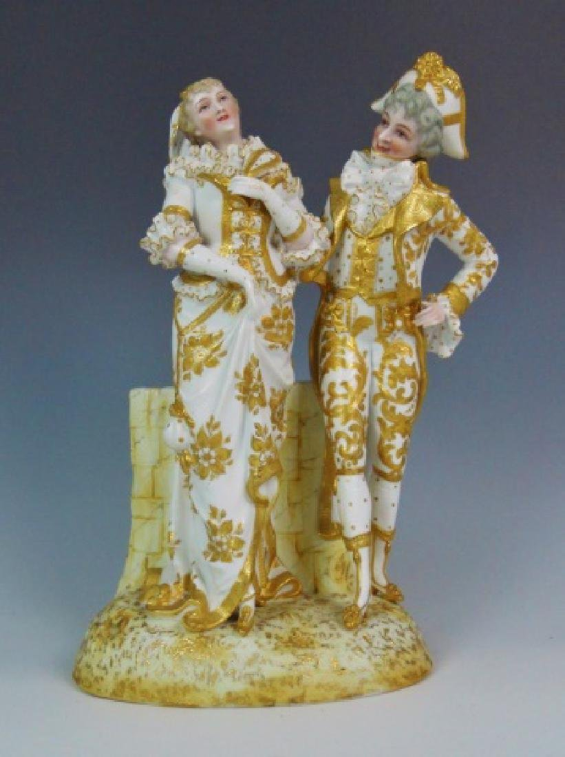 Continental Porcelain Gilt Decorated Figurine