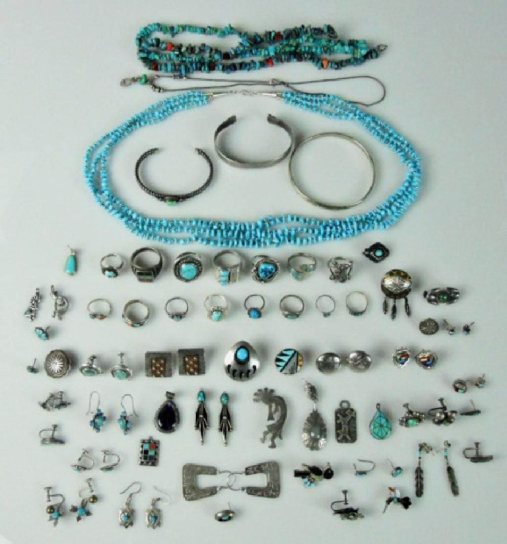 Southwest Sterling and Turquoise Jewelry (65 pc)
