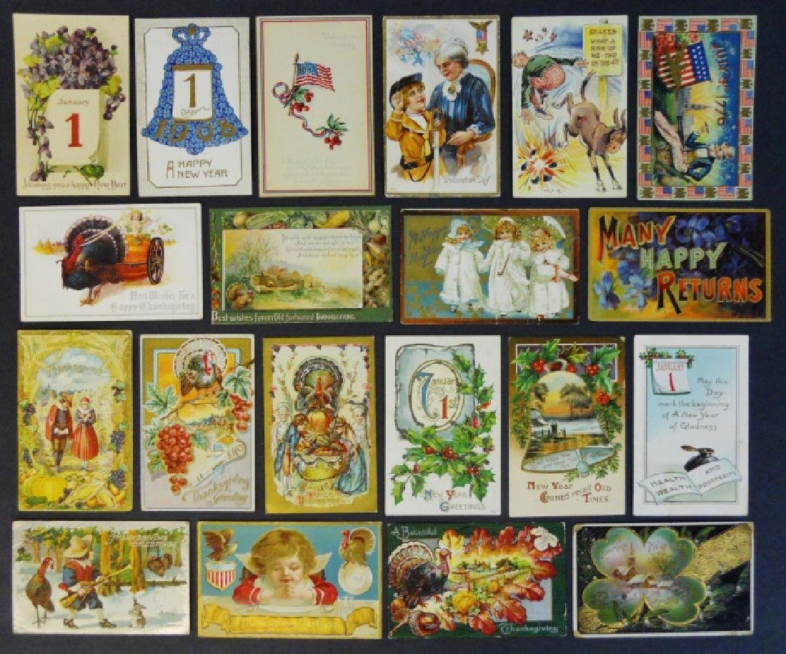 Early 20th C. Holiday Theme Postcards, (66pc)