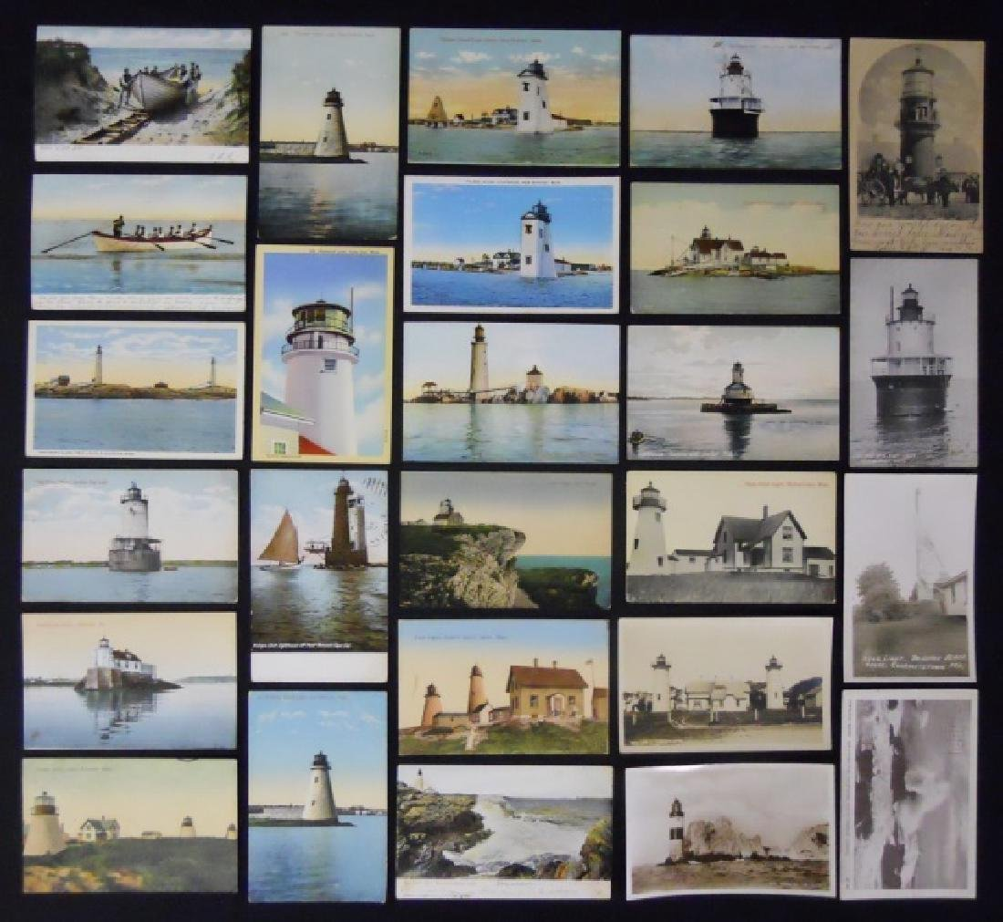 Antique Lighthouse or Ship Themed Postcards (56pc)
