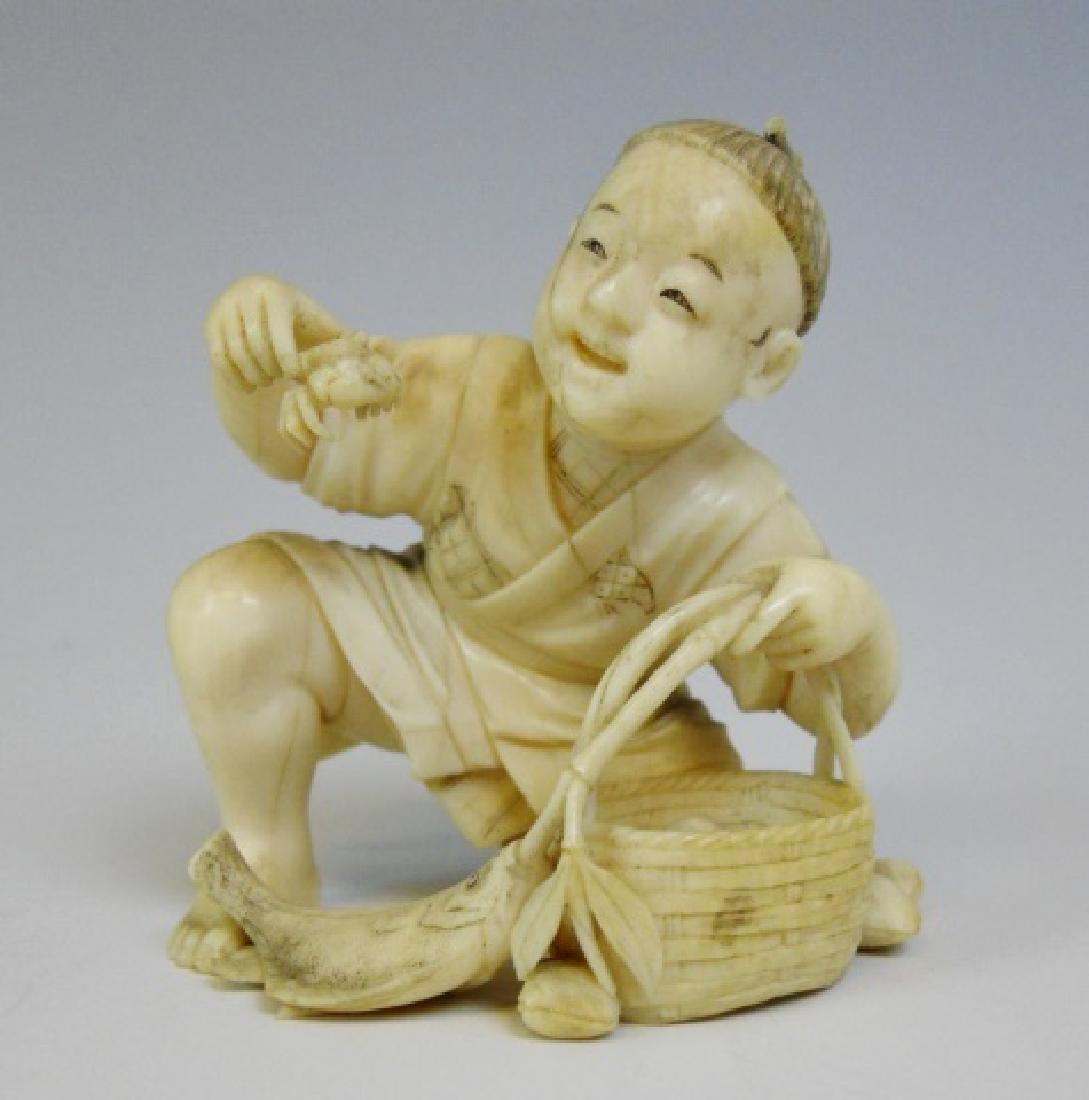 19th C. Japanese Okimono, Figure of Fishmonger