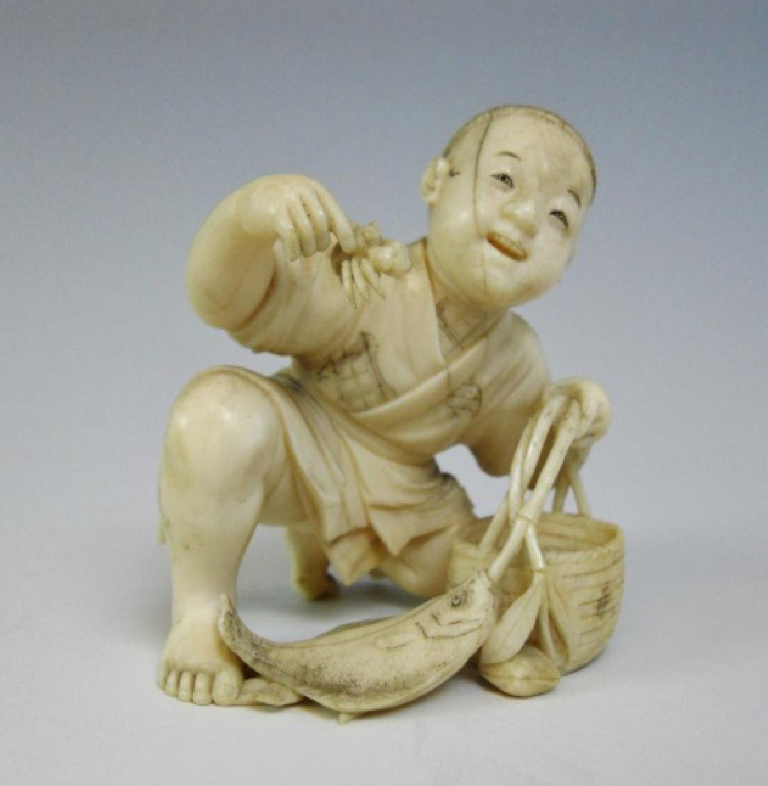 19th C. Japanese Okimono, Figure of Fishmonger - 2