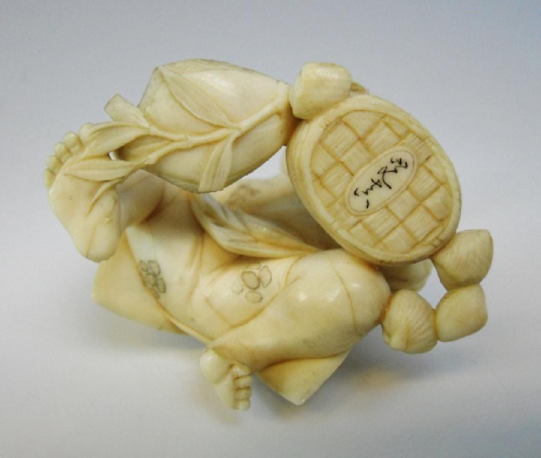 19th C. Japanese Okimono, Figure of Fishmonger - 6