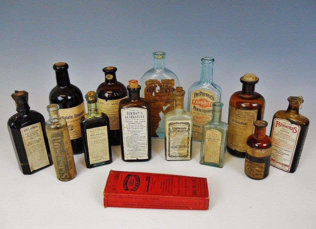 19th C. Medicine Bottles Labels, Contents, (13pc)