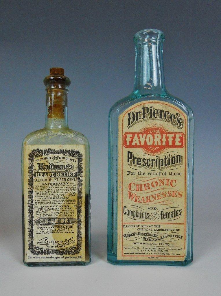 19th C. Medicine Bottles Labels, Contents, (13pc) - 2