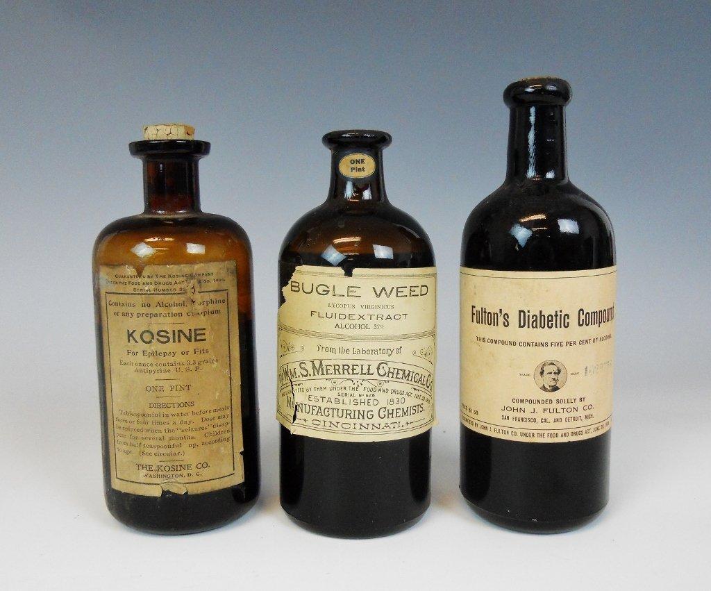 19th C. Medicine Bottles Labels, Contents, (13pc) - 3