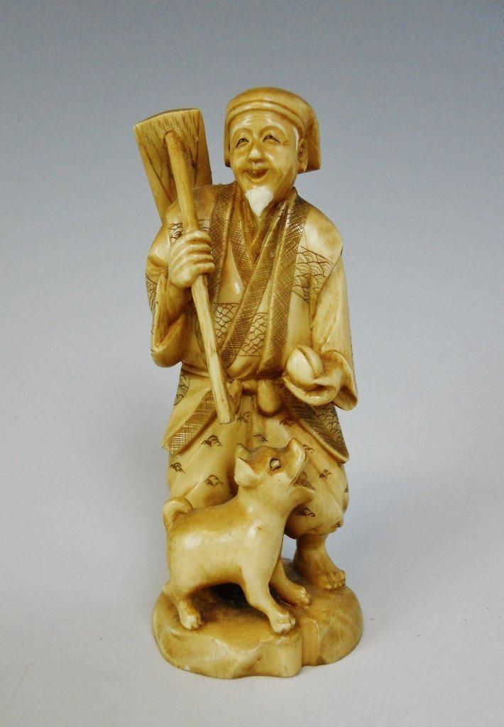 19th C. Japanese Okimono, Farmer with Pig