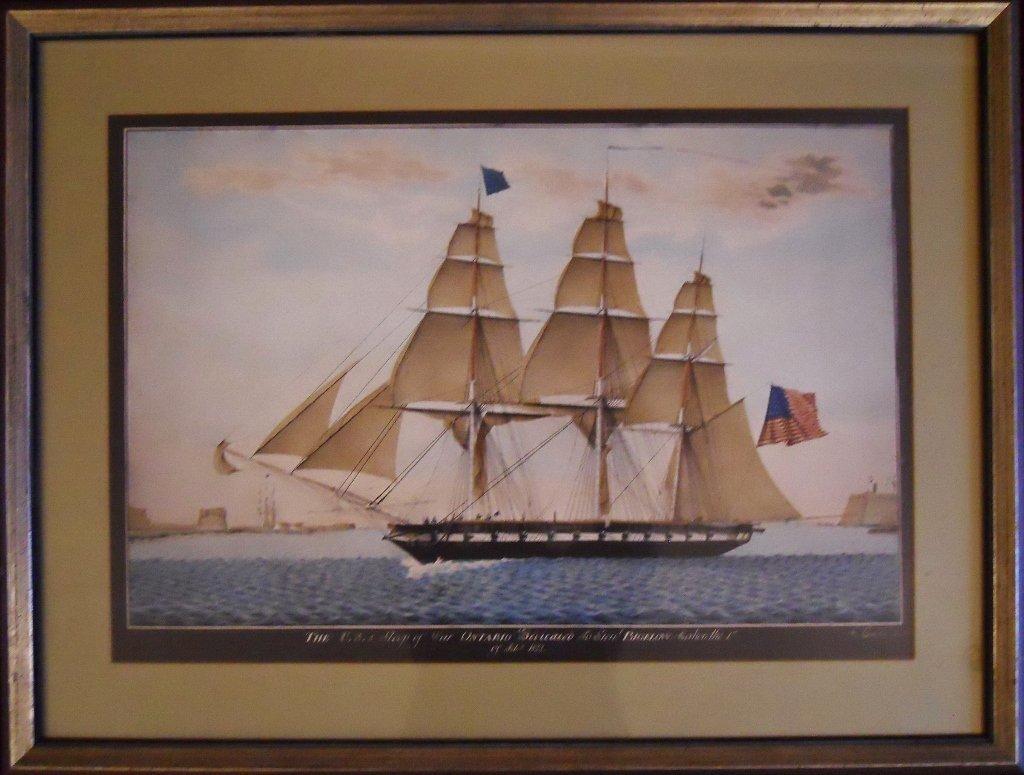 20th C. Hand-Tinted Maritime Print