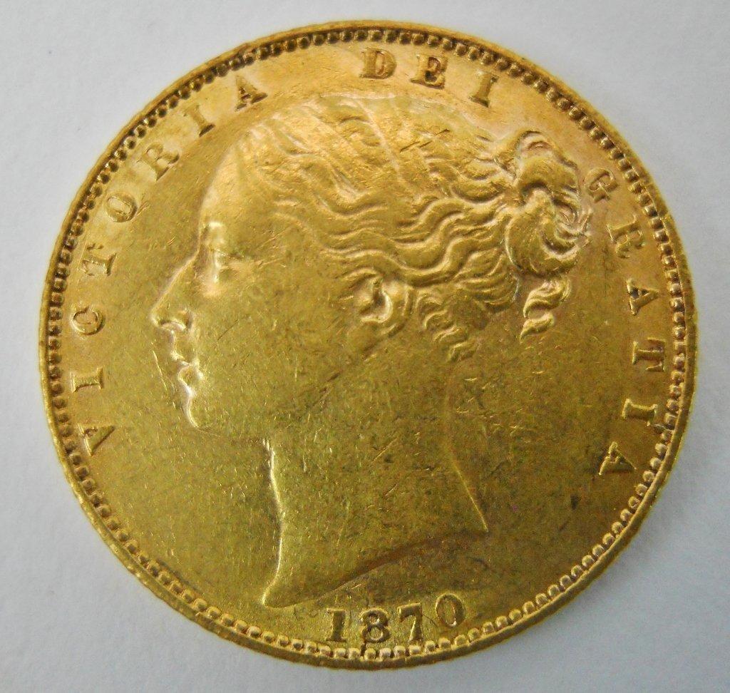 1870 British Gold Sovereign Coin, AU