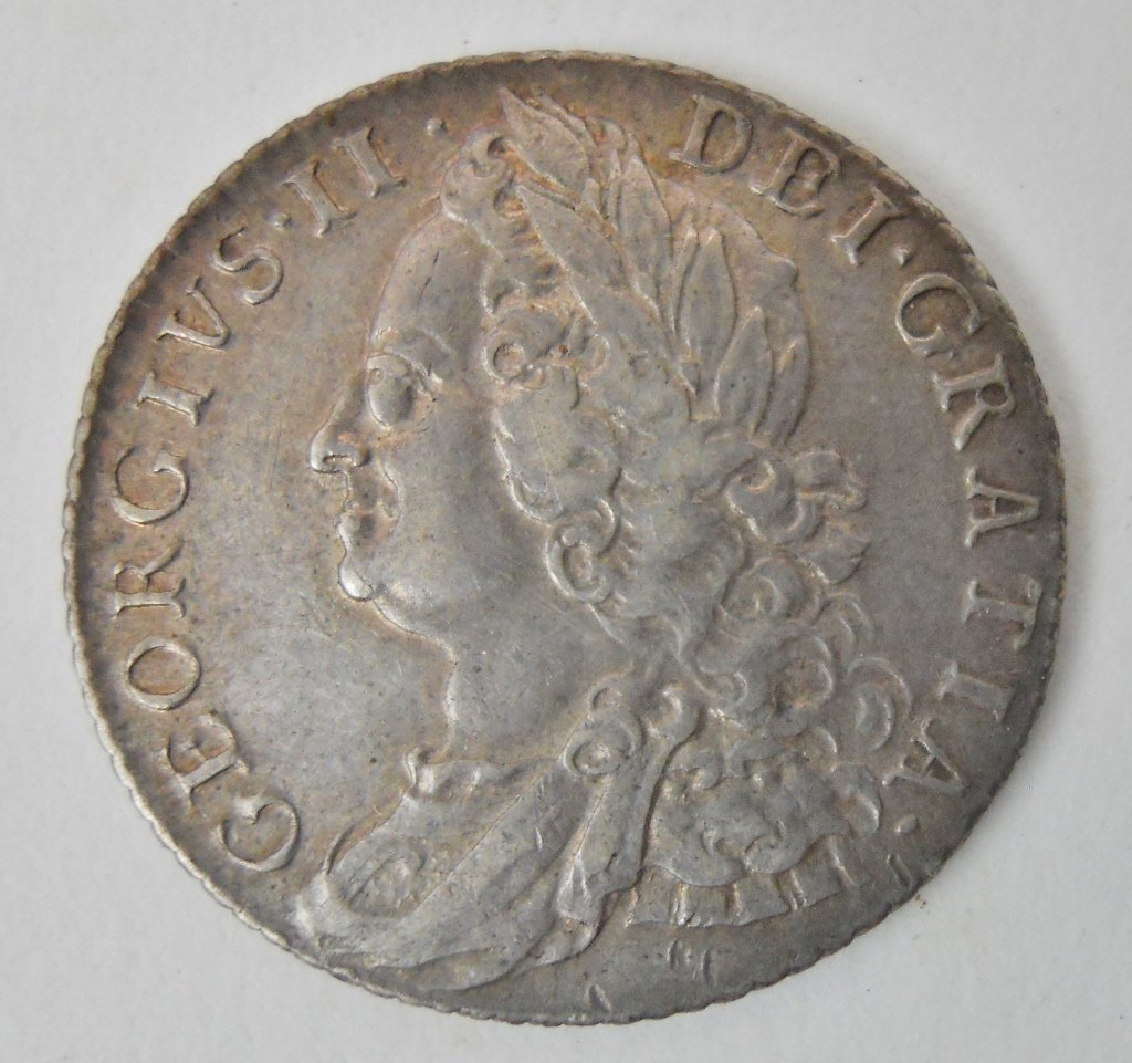 1758 English Silver Shilling Coin, George II