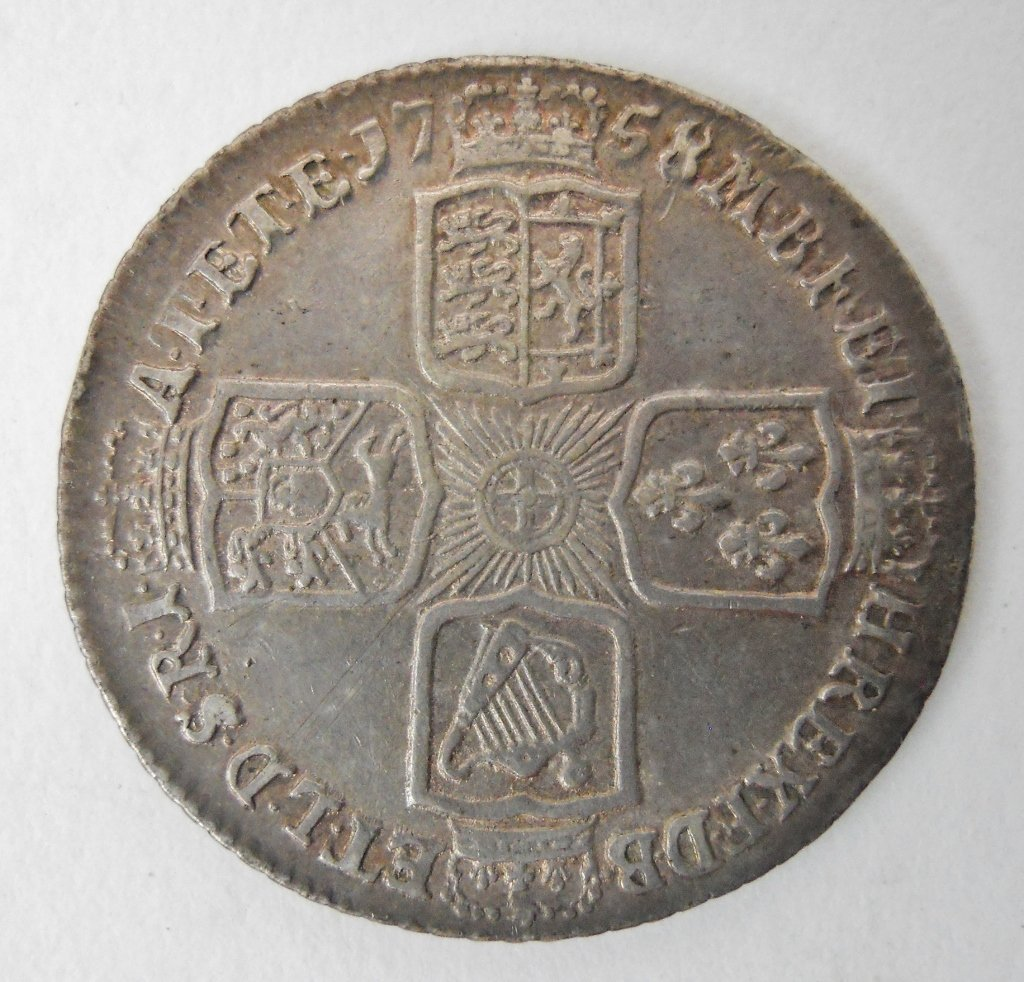1758 English Silver Shilling Coin, George II - 2