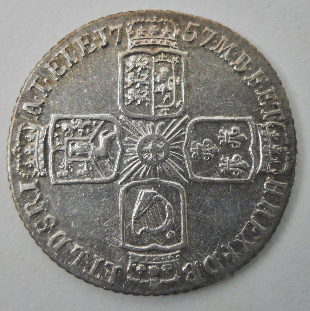 1757 English Silver Sixpence Coin, George II - 2
