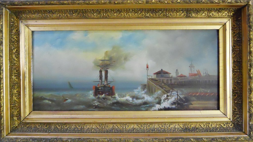 Antique Marine Painting Oil on Canvas