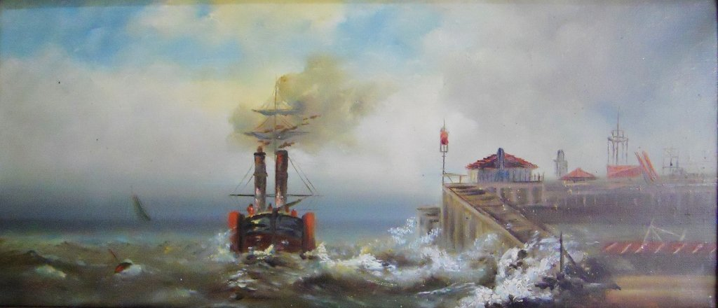 Antique Marine Painting Oil on Canvas - 2