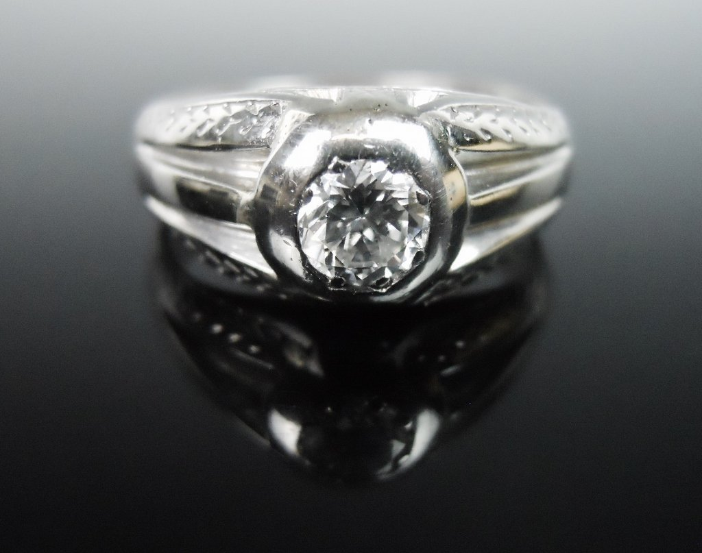 18K Gold and Diamond Ring, .55 ct