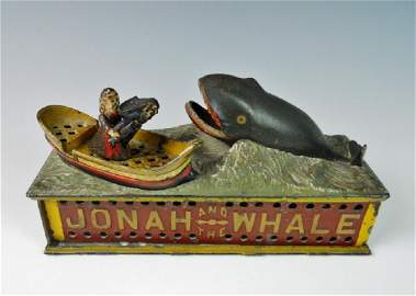 """19th C. Mechanical Bank, """"JONAH AND THE WHALE"""""""