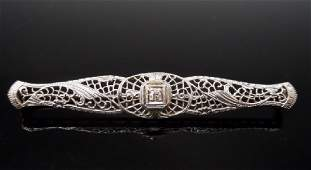 Antique 14K White Gold and Diamond Bar Pin