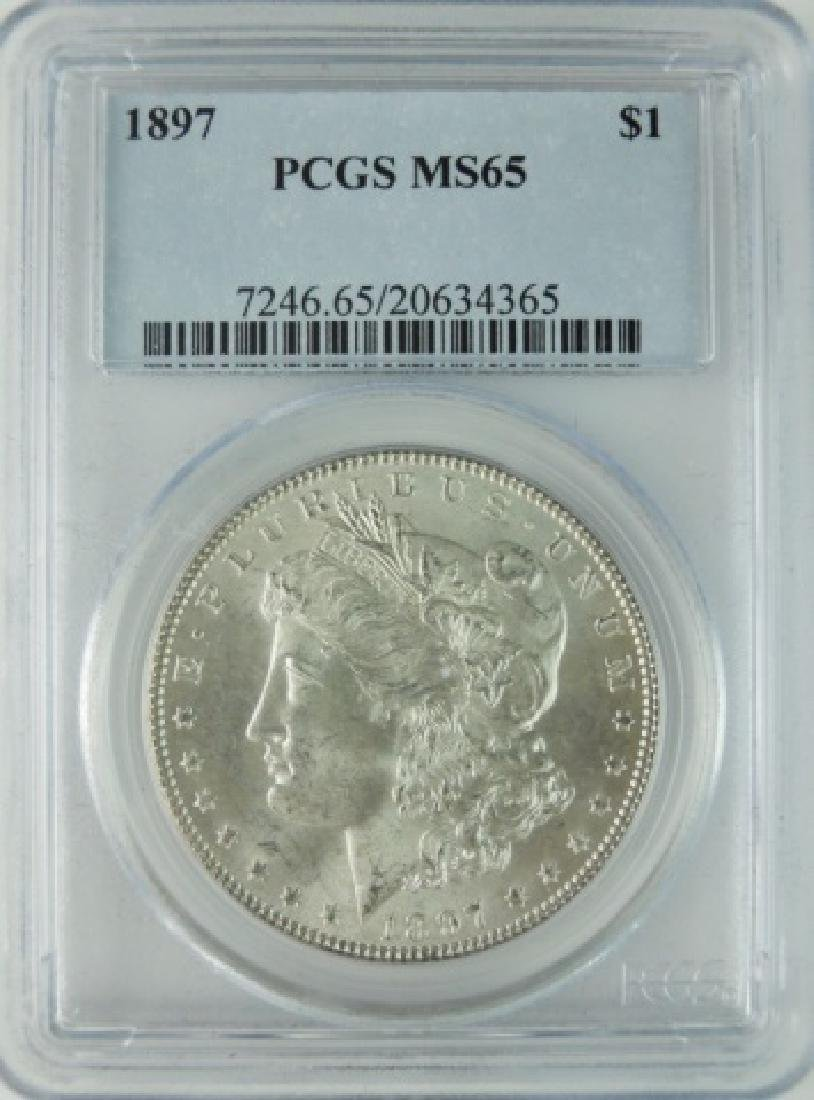 1897 US Morgan Silver Dollar, PCGS MS65