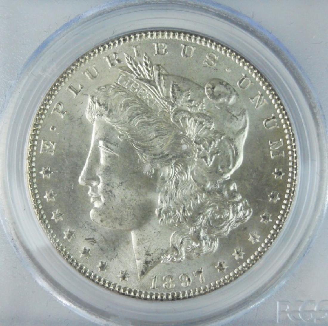 1897 US Morgan Silver Dollar, PCGS MS65 - 3