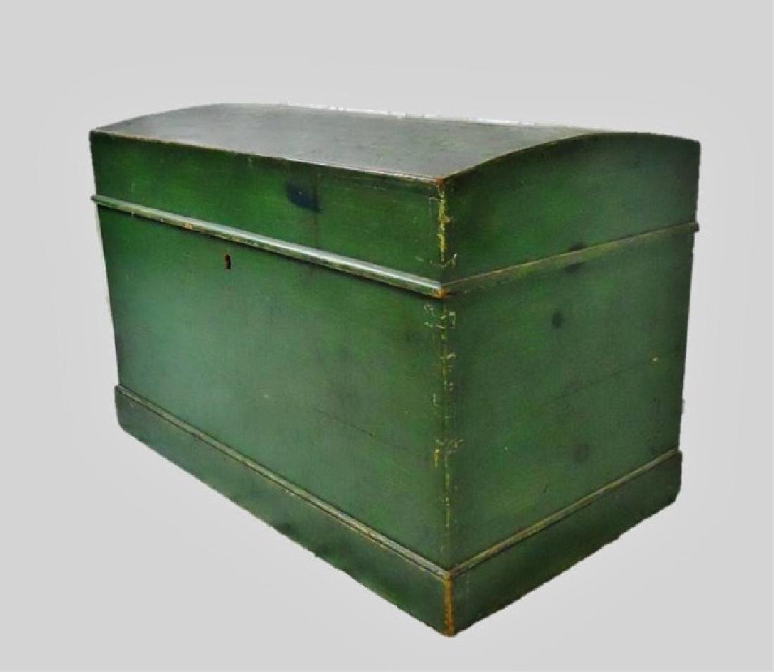 19th C. Wood Chest in Old Green Paint
