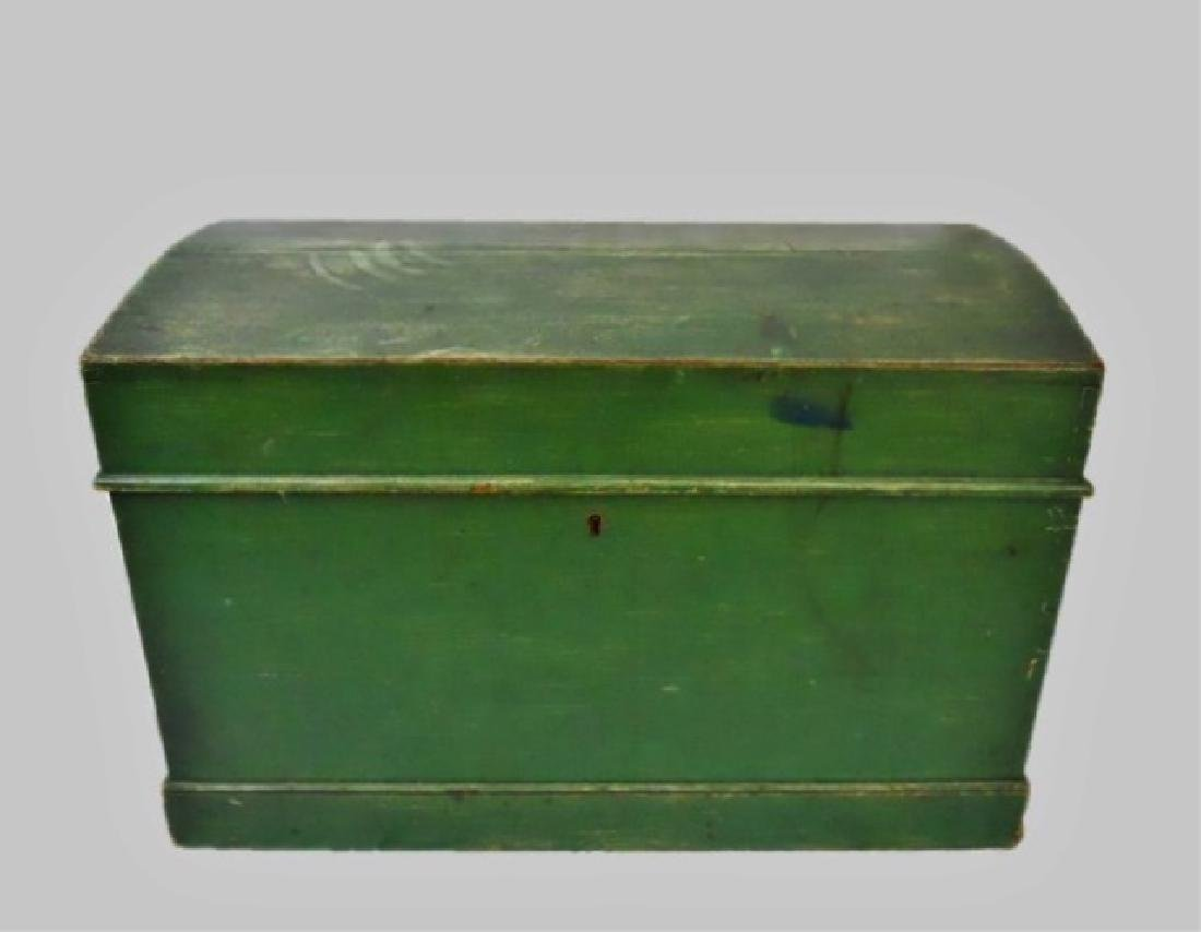 19th C. Wood Chest in Old Green Paint - 2