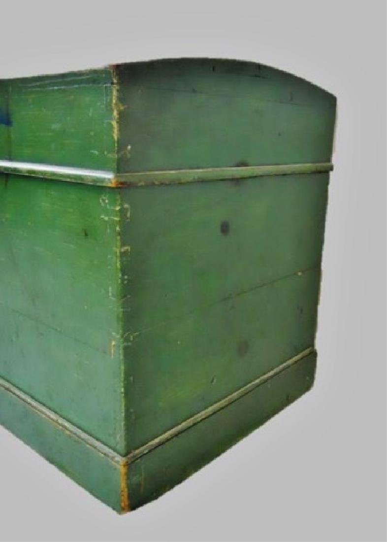19th C. Wood Chest in Old Green Paint - 4
