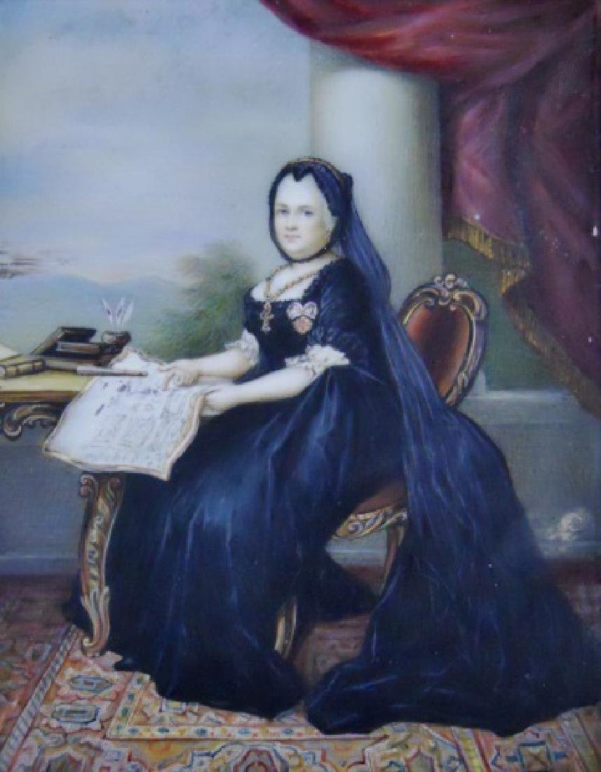 19th C. Watercolor on Celluloid, Queen Victoria