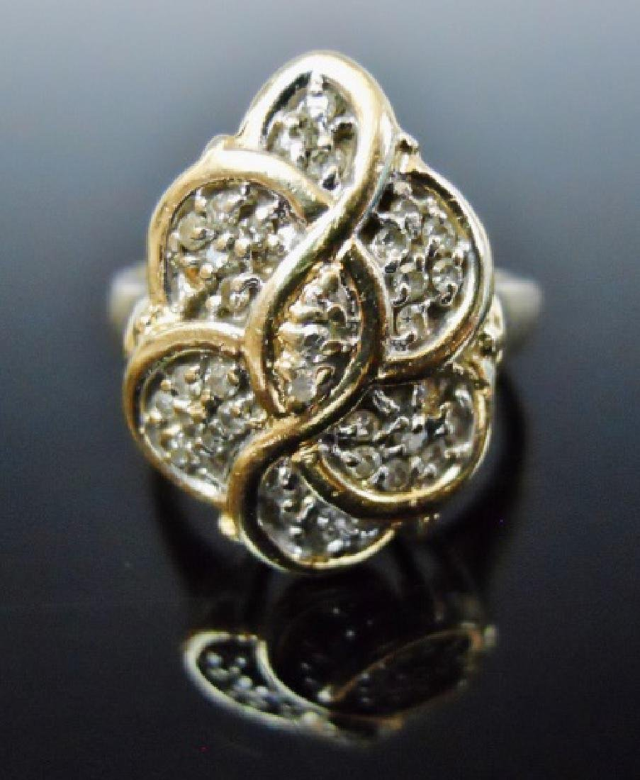 14K Gold and Diamond Cocktail Ring