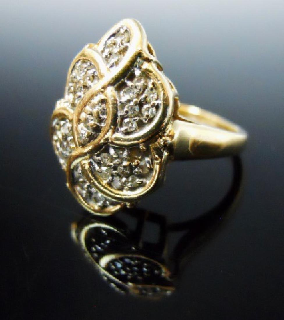 14K Gold and Diamond Cocktail Ring - 2