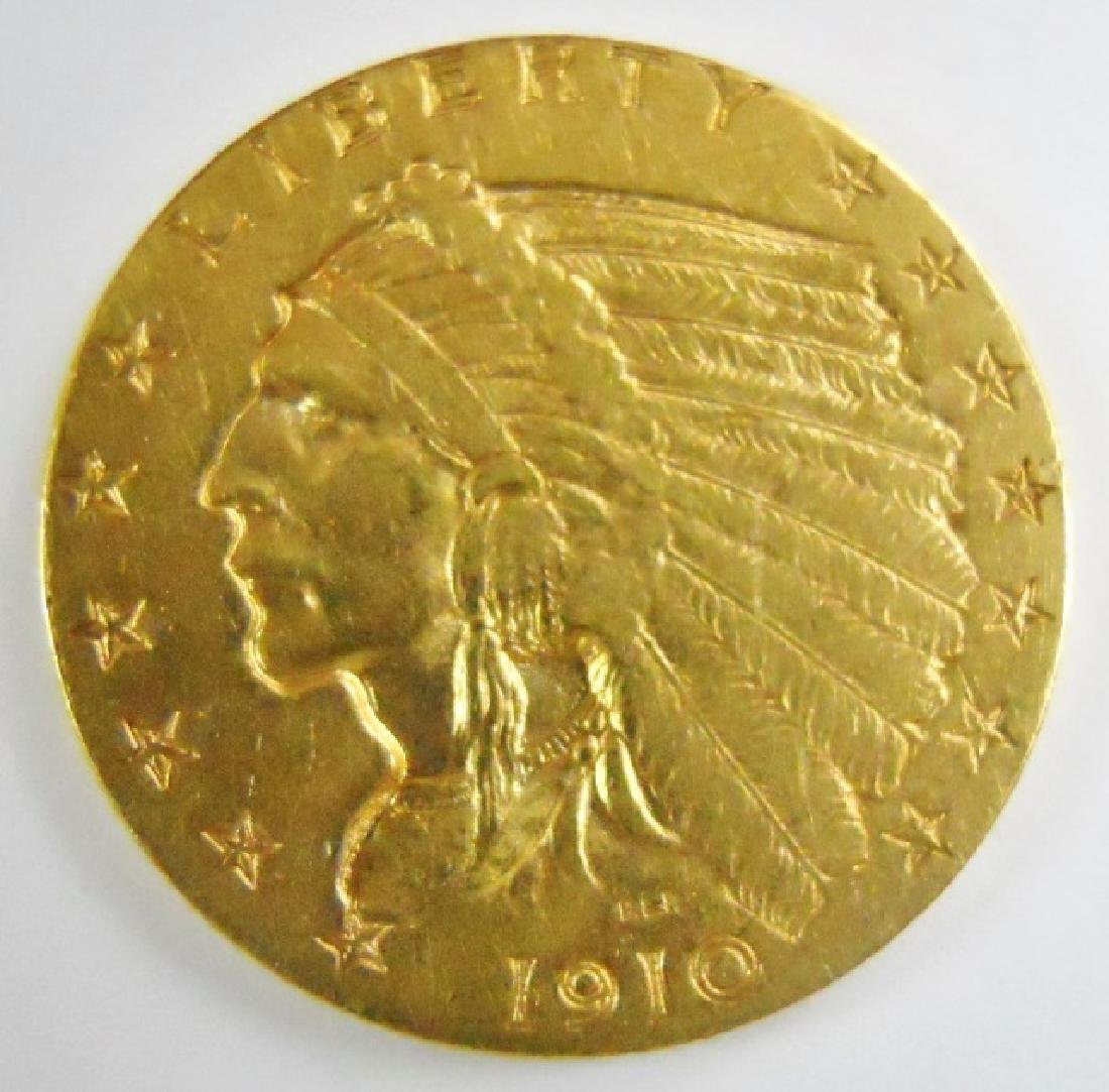 US 1910 $2.50 Indian Head Quarter Eagle Gold Coin