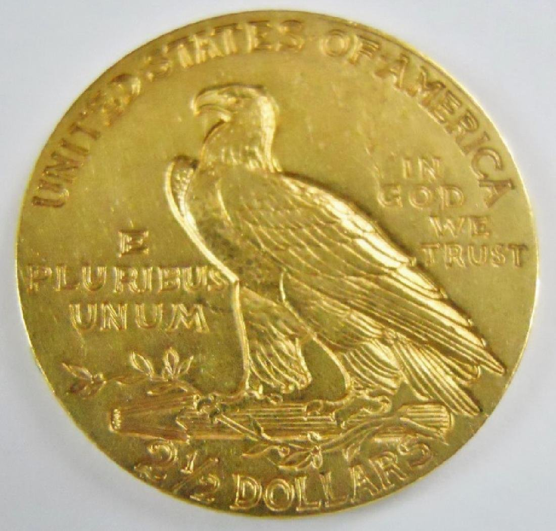 US 1910 $2.50 Indian Head Quarter Eagle Gold Coin - 2