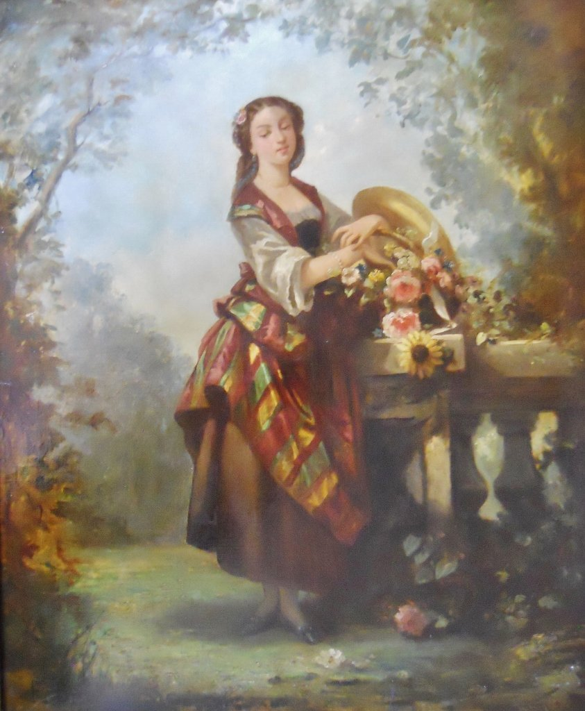 19th C. Oil on Canvas, Woman with Flowers
