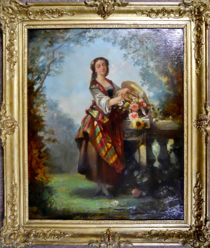 19th C. Oil on Canvas, Woman with Flowers - 2