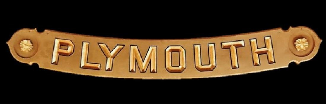 Hand Carved Wood Sign, PLYMOUTH