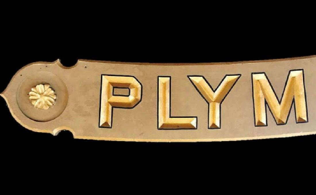 Hand Carved Wood Sign, PLYMOUTH - 2