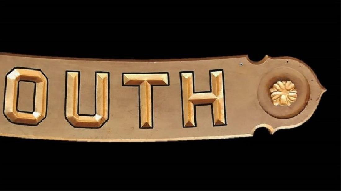 Hand Carved Wood Sign, PLYMOUTH - 3