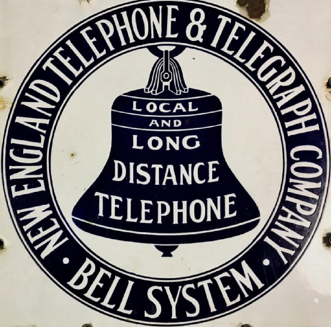 Antique Porcelain Sign, New England Telephone - 2