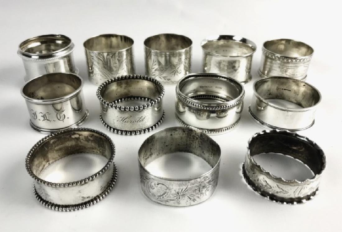 Antique Sterling Silver Napkin Rings, (12pc)