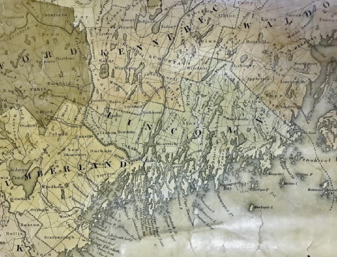 Wall Map of Maine, Moses Greenleaf, 1844 - 4