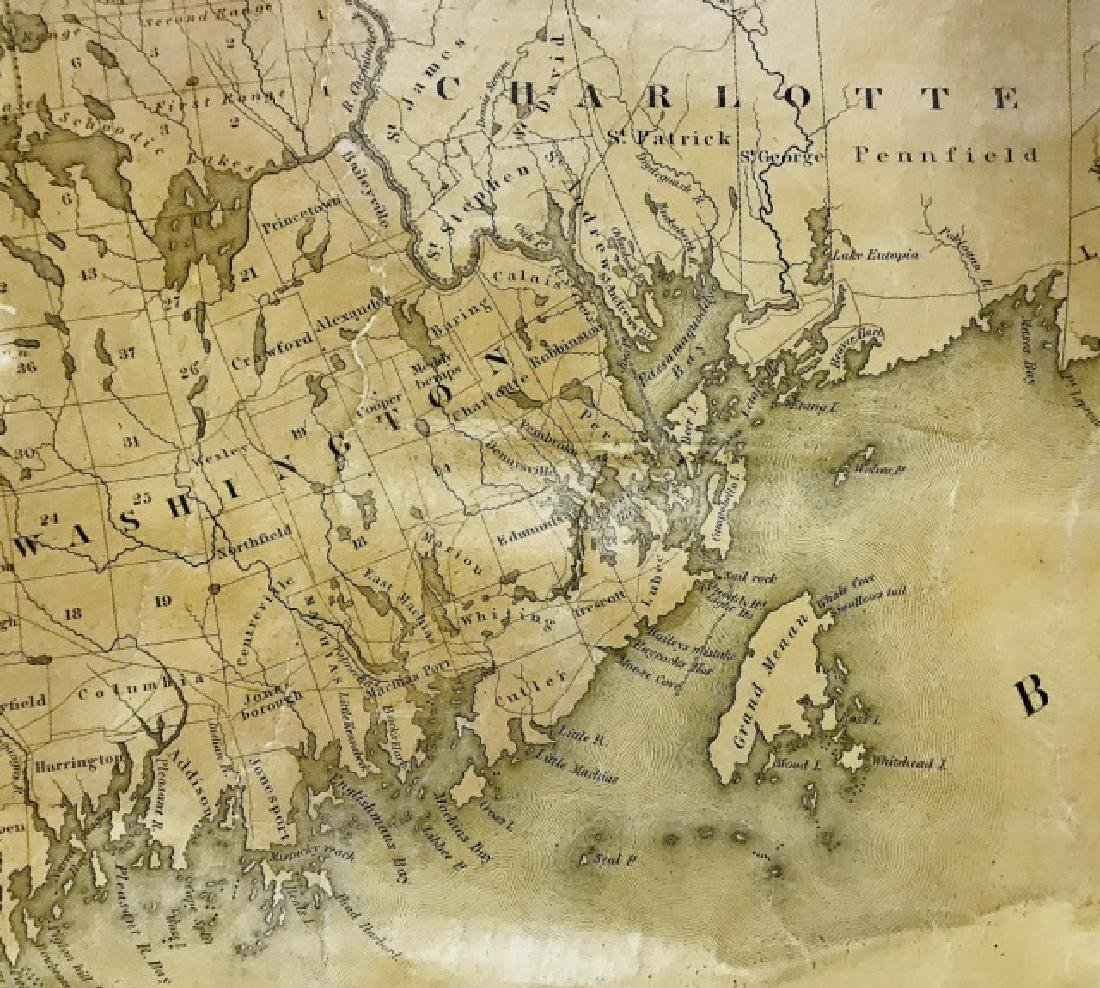Wall Map of Maine, Moses Greenleaf, 1844 - 5