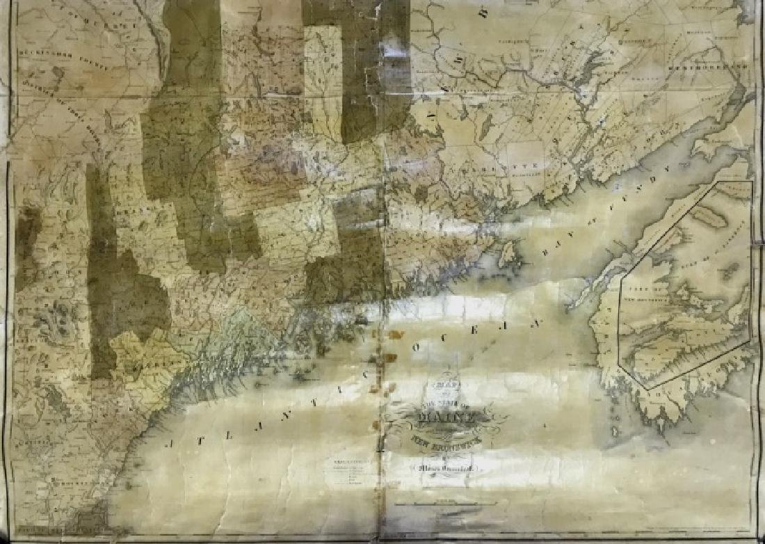 Wall Map of Maine, Moses Greenleaf, 1844 - 7
