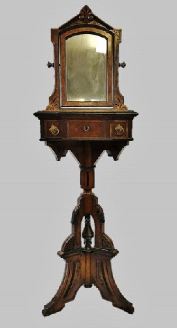 19th C. Eastlake Walnut Shaving Stand and Mirror
