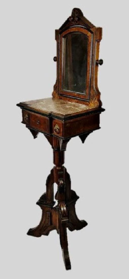 19th C. Eastlake Walnut Shaving Stand and Mirror - 2