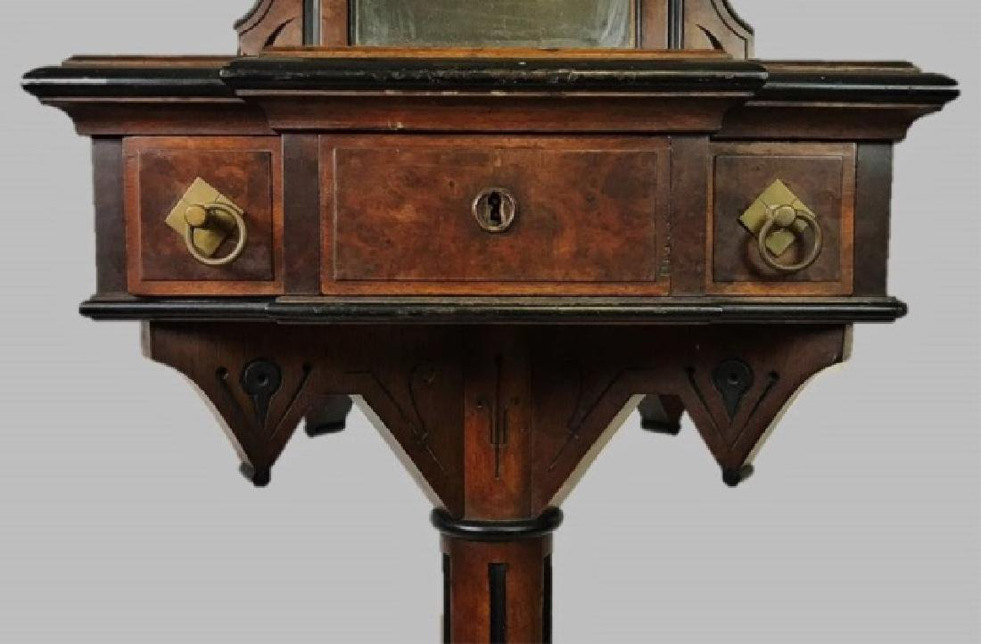 19th C. Eastlake Walnut Shaving Stand and Mirror - 3