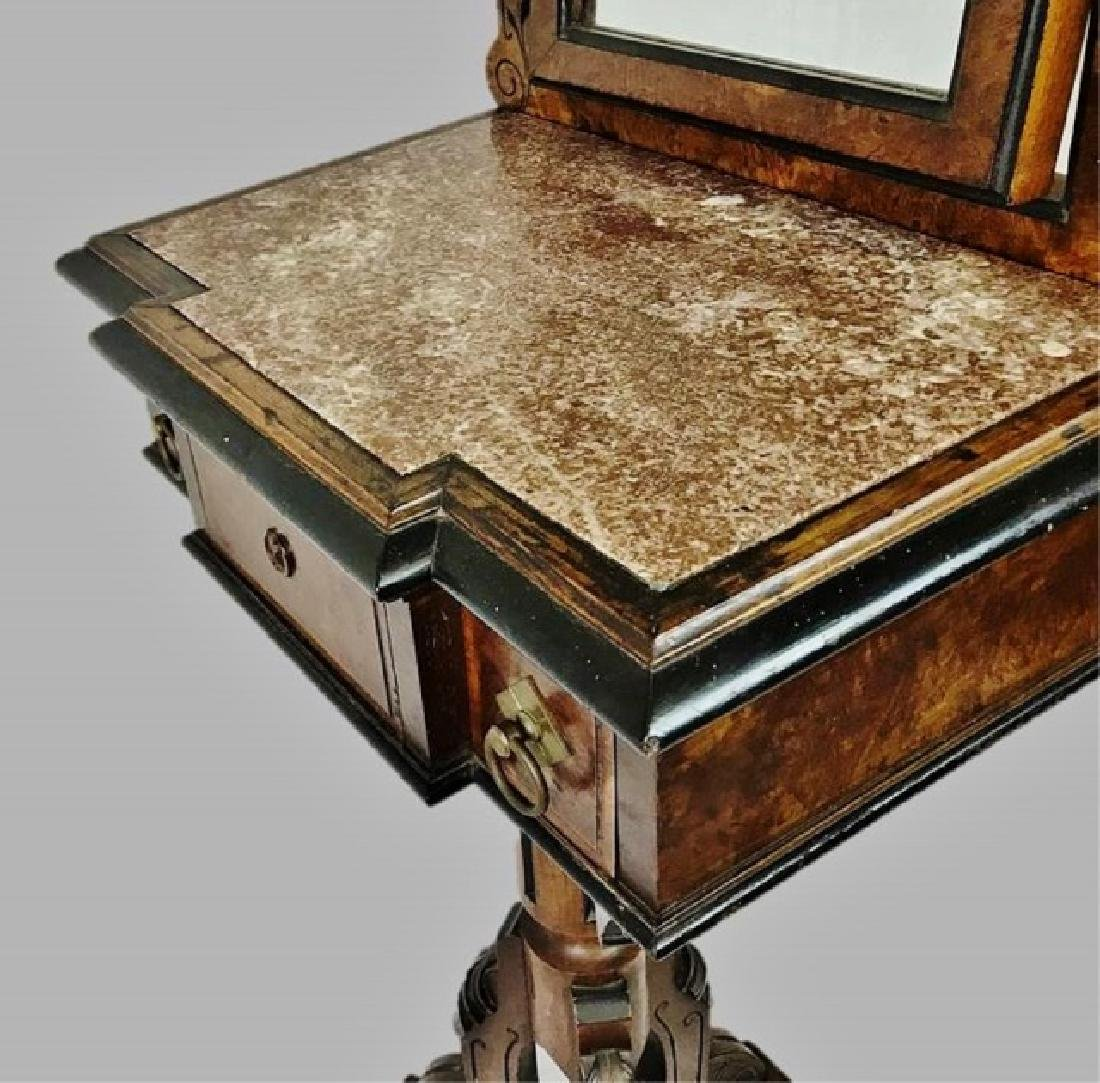 19th C. Eastlake Walnut Shaving Stand and Mirror - 4