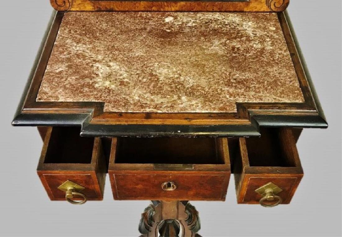 19th C. Eastlake Walnut Shaving Stand and Mirror - 5