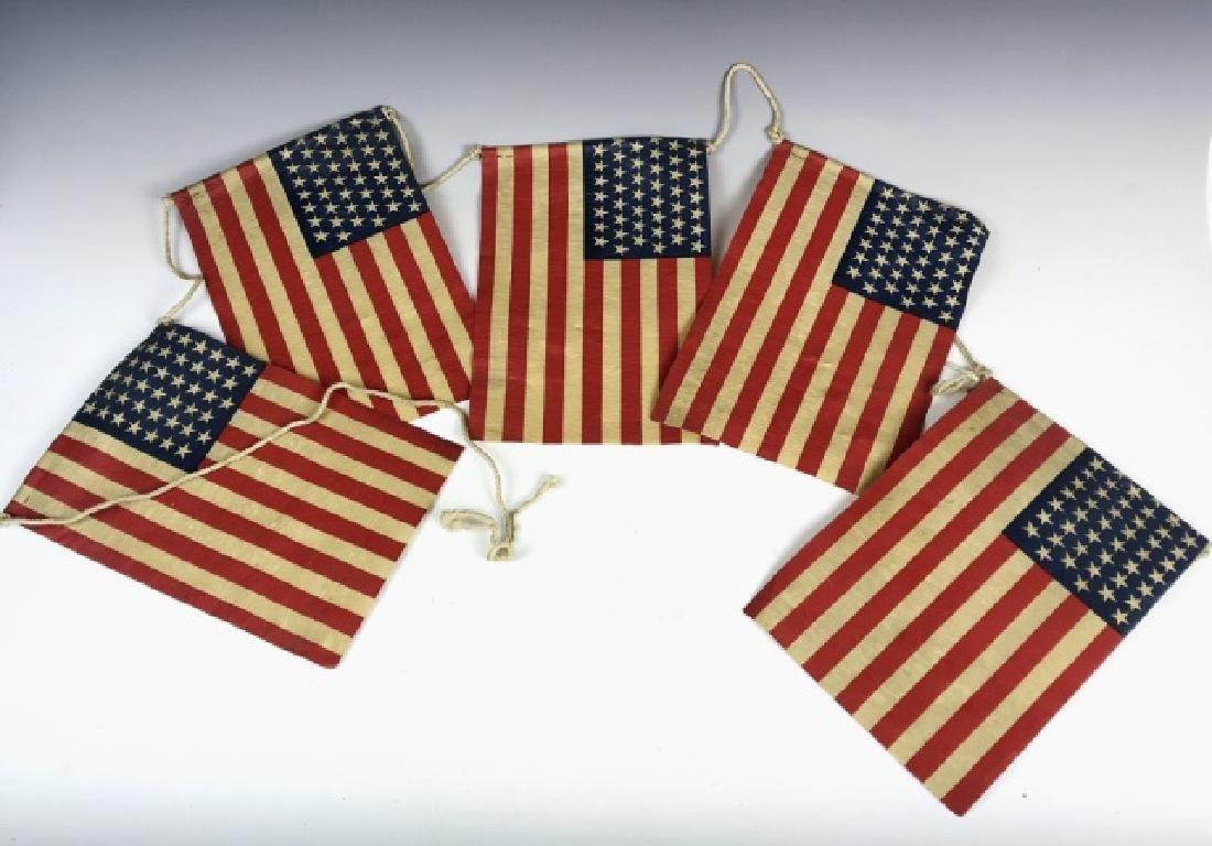 Five Strung Antique 45 Star Parade Flags, (5pc)