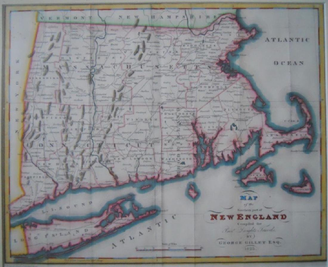 1823 Map of Southern New England, George Gillet