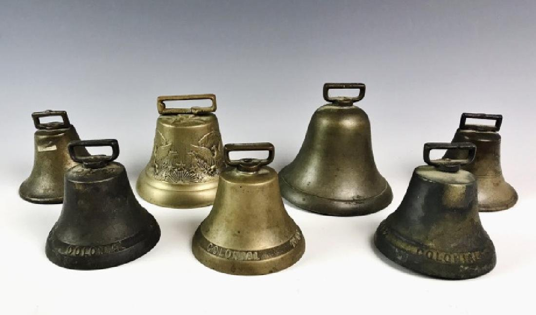 Collection Antique Brass Horse Team Bells, (7pc)