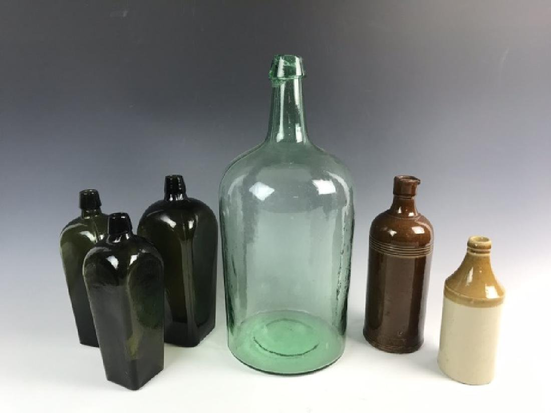 Collection, Antique Glass, Stoneware Bottles (6pc)